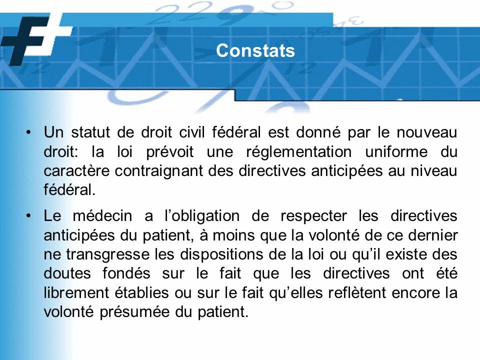 Un statut de droit civil fédéral est donné par le nouveau droit: la loi prévoit une réglementation uniforme du caractère contraignant des directives anticipées au niveau fédéral.