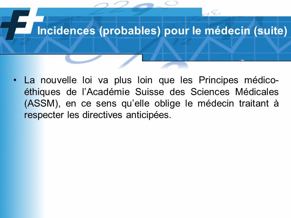 La nouvelle loi va plus loin que les Principes médico- éthiques de lAcadémie Suisse des Sciences Médicales (ASSM), en ce sens quelle oblige le médecin traitant à respecter les directives anticipées.