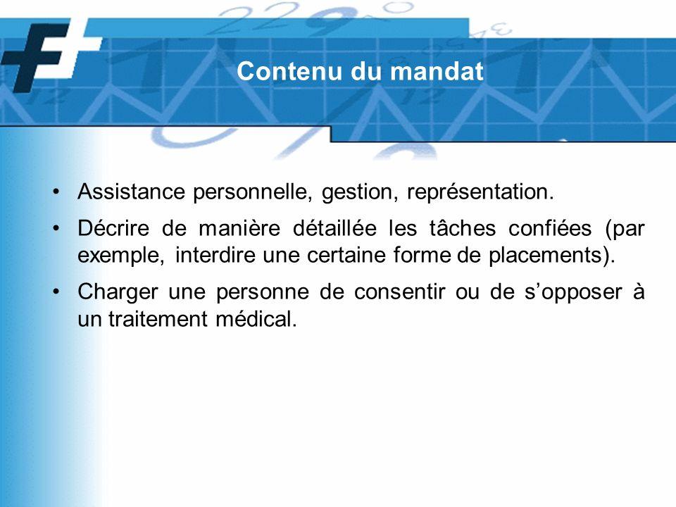 Assistance personnelle, gestion, représentation.