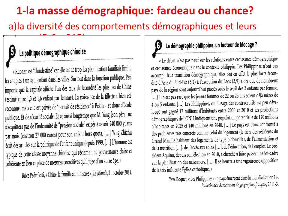 1-la masse démographique: fardeau ou chance? a)la diversité des comportements démographiques et leurs causes (5-6 p 315)