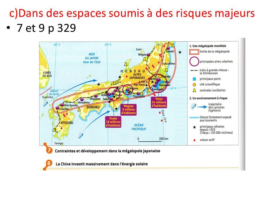 c)Dans des espaces soumis à des risques majeurs 7 et 9 p 329