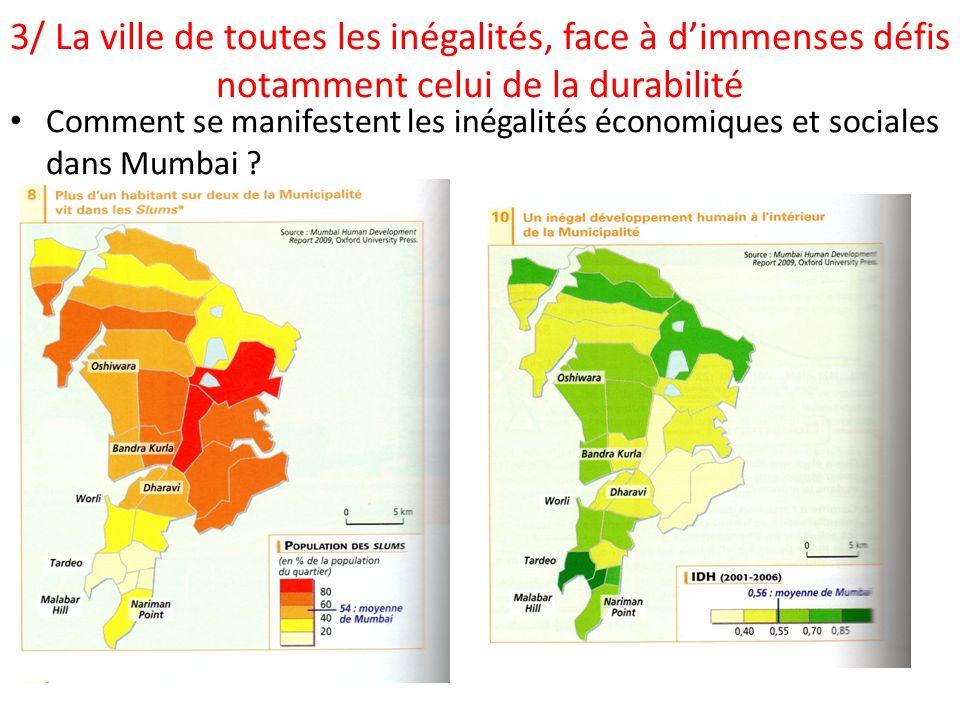 3/ La ville de toutes les inégalités, face à dimmenses défis notamment celui de la durabilité Comment se manifestent les inégalités économiques et soc