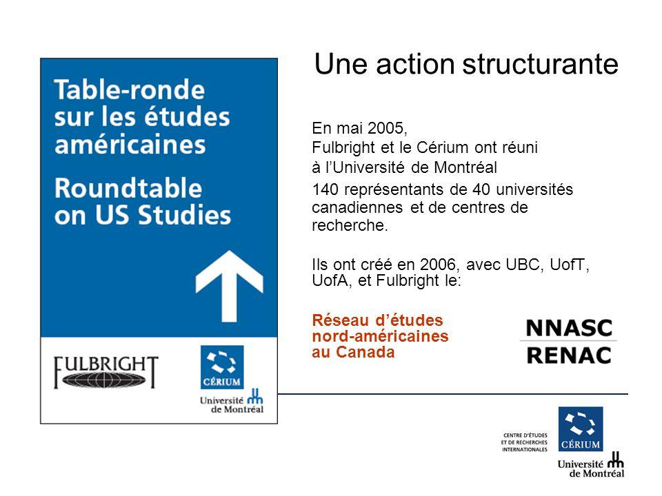 www.cerium.ca Une action structurante En mai 2005, Fulbright et le Cérium ont réuni à lUniversité de Montréal 140 représentants de 40 universités canadiennes et de centres de recherche.
