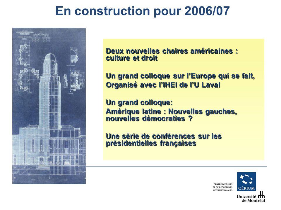 www.cerium.ca En construction pour 2006/07 Deux nouvelles chaires américaines : culture et droit Un grand colloque sur lEurope qui se fait, Organisé avec lIHEI de lU Laval Un grand colloque: Amérique latine : Nouvelles gauches, nouvelles démocraties .