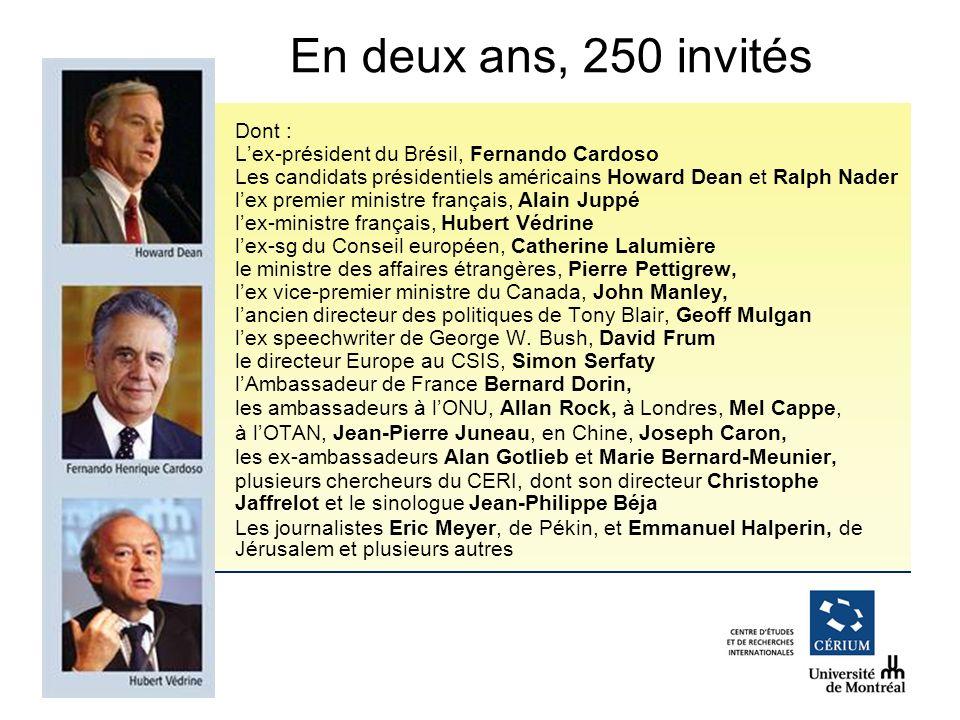 www.cerium.ca Dont : Lex-président du Brésil, Fernando Cardoso Les candidats présidentiels américains Howard Dean et Ralph Nader lex premier ministre