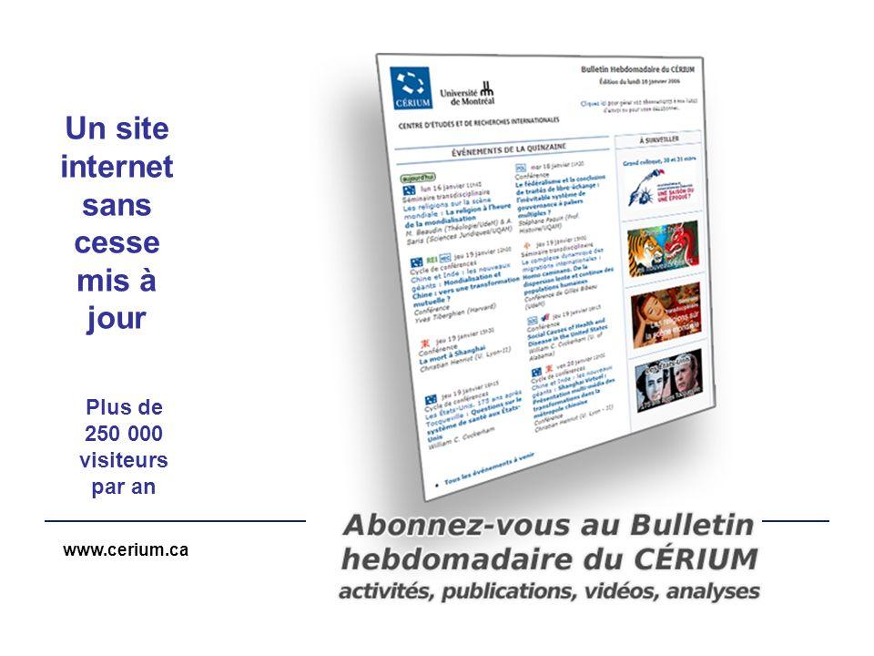 www.cerium.ca Un site internet sans cesse mis à jour Plus de 250 000 visiteurs par an