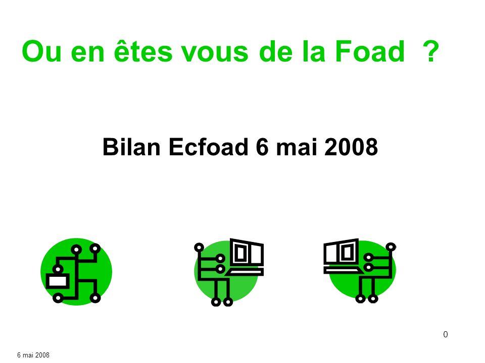 0 Ou en êtes vous de la Foad ? 6 mai 2008 Bilan Ecfoad 6 mai 2008