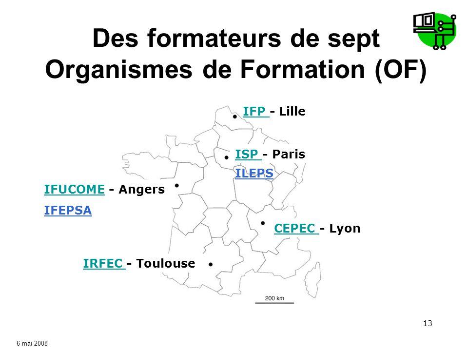 13 Des formateurs de sept Organismes de Formation (OF) ISP ISP - Paris IFP IFP - Lille CEPEC CEPEC - Lyon IRFEC IRFEC - Toulouse IFUCOMEIFUCOME - Ange