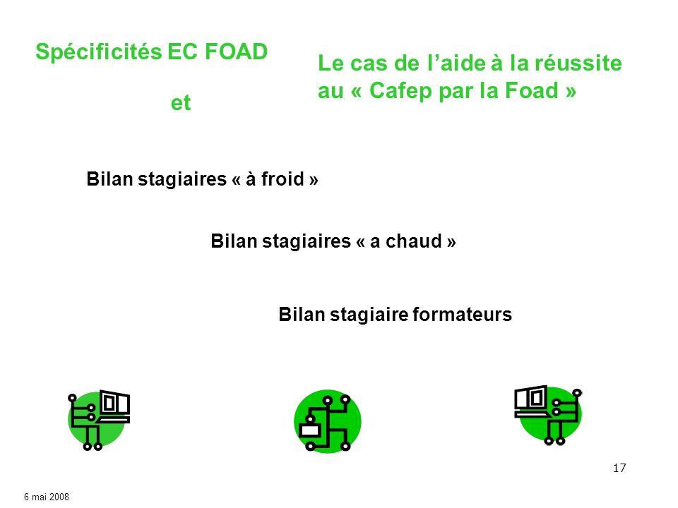 17 6 mai 2008 Spécificités EC FOAD et Le cas de laide à la réussite au « Cafep par la Foad » Bilan stagiaires « à froid » Bilan stagiaires « a chaud »
