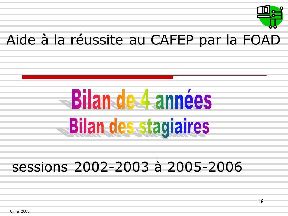18 sessions 2002-2003 à 2005-2006 Aide à la réussite au CAFEP par la FOAD 6 mai 2008