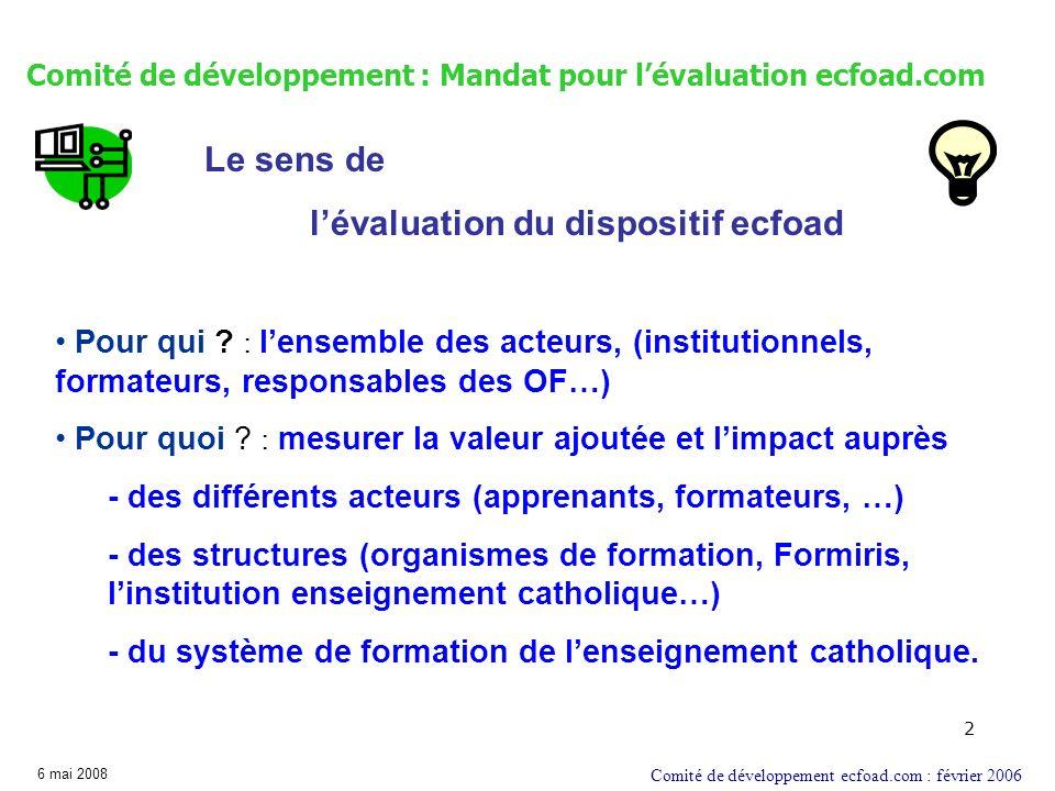 2 Comité de développement : Mandat pour lévaluation ecfoad.com Comité de développement ecfoad.com : février 2006 Pour qui ? : lensemble des acteurs, (