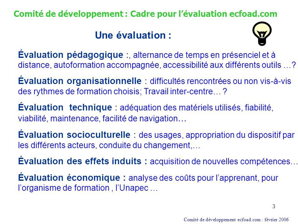 3 Comité de développement : Cadre pour lévaluation ecfoad.com Une évaluation : Comité de développement ecfoad.com : février 2006 Évaluation pédagogiqu