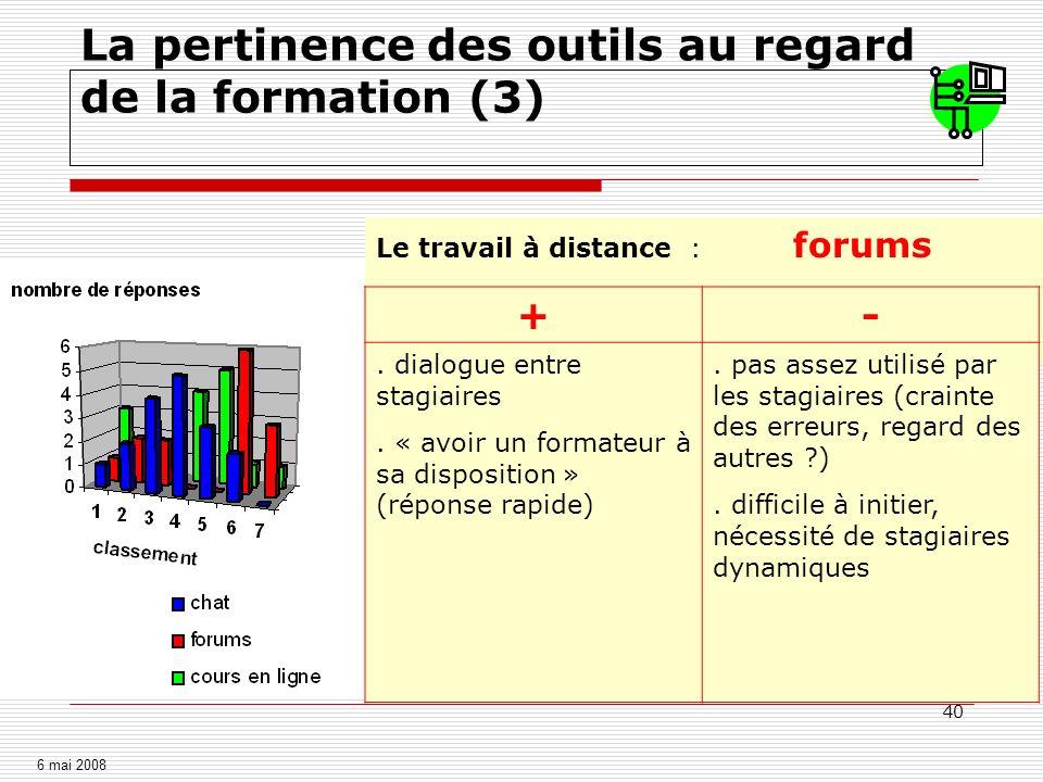 40 Le travail à distance : forums +-. dialogue entre stagiaires. « avoir un formateur à sa disposition » (réponse rapide). pas assez utilisé par les s