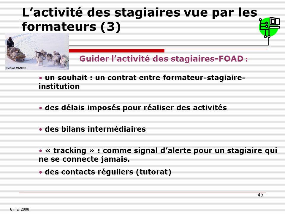 45 Lactivité des stagiaires vue par les formateurs (3) Guider lactivité des stagiaires-FOAD : un souhait : un contrat entre formateur-stagiaire- insti
