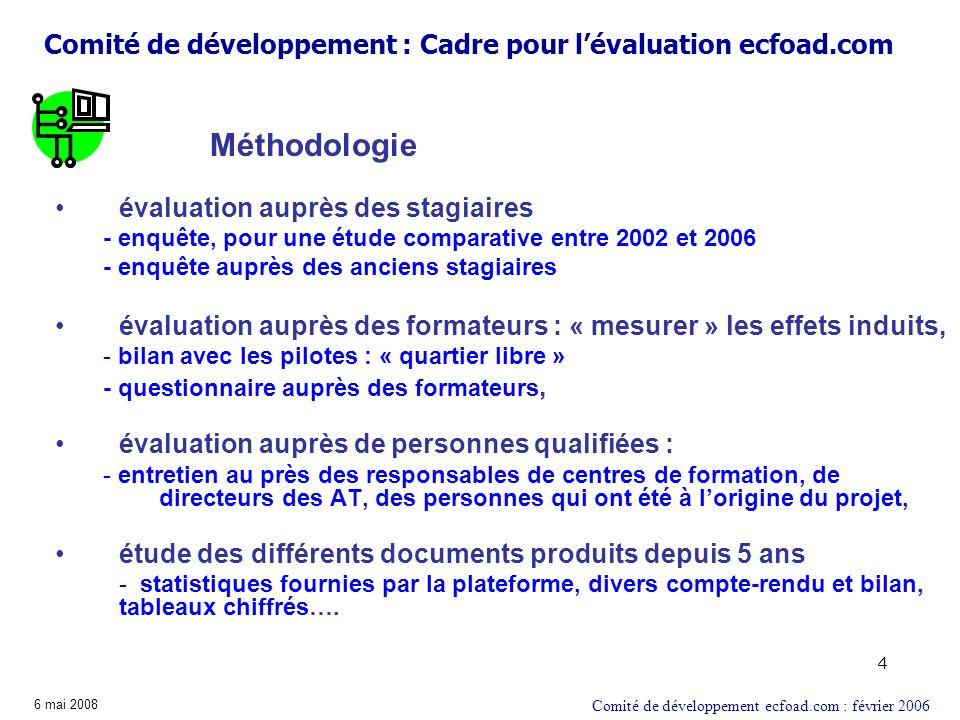 4 évaluation auprès des stagiaires - enquête, pour une étude comparative entre 2002 et 2006 - enquête auprès des anciens stagiaires évaluation auprès
