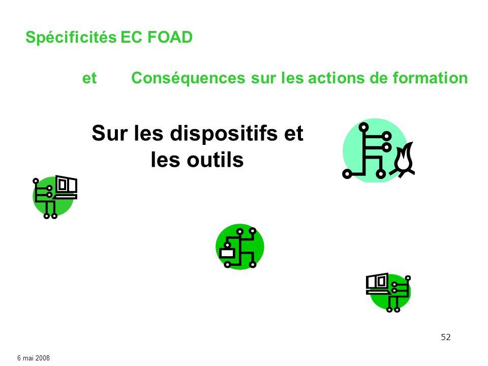 52 6 mai 2008 Sur les dispositifs et les outils Spécificités EC FOAD etConséquences sur les actions de formation
