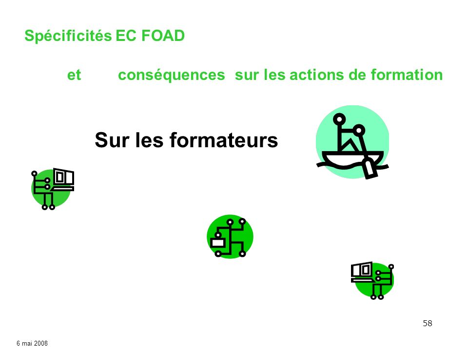 58 6 mai 2008 Sur les formateurs Spécificités EC FOAD etconséquences sur les actions de formation