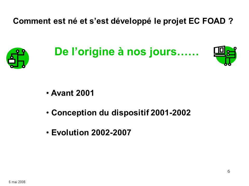 6 Avant 2001 Conception du dispositif 2001-2002 Evolution 2002-2007 Comment est né et sest développé le projet EC FOAD ? De lorigine à nos jours……