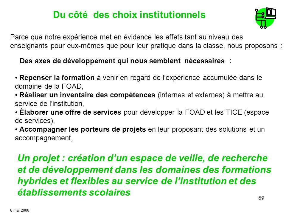 69 6 mai 2008 Du côté des choix institutionnels Un projet : création dun espace de veille, de recherche et de développement dans les domaines des form