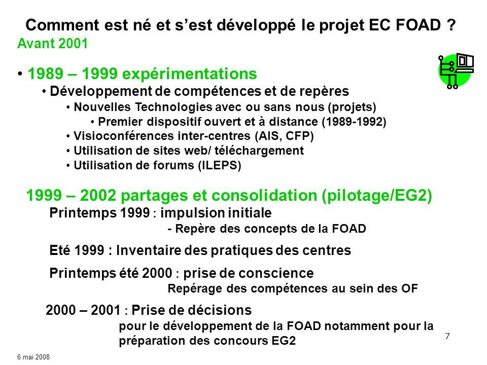 7 6 mai 2008 Avant 2001 Comment est né et sest développé le projet EC FOAD ? 1989 – 1999 expérimentations Développement de compétences et de repères N