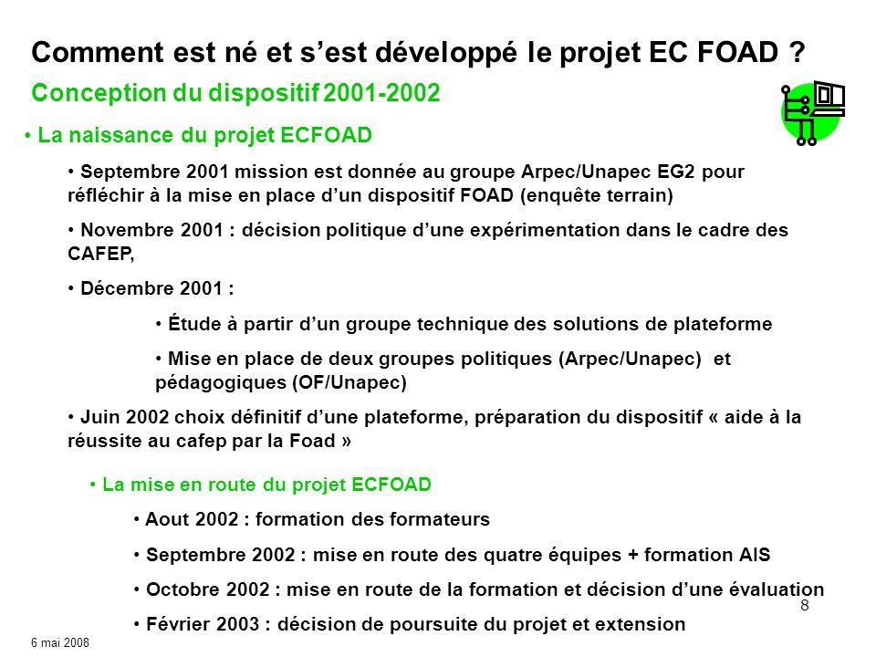8 6 mai 2008 Conception du dispositif 2001-2002 Comment est né et sest développé le projet EC FOAD ? La naissance du projet ECFOAD Septembre 2001 miss