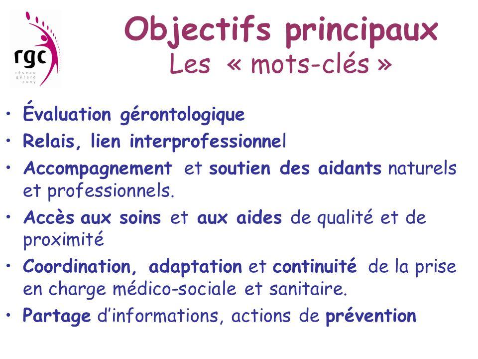 Objectifs principaux Les « mots-clés » Évaluation gérontologique Relais, lien interprofessionnel Accompagnement et soutien des aidants naturels et pro