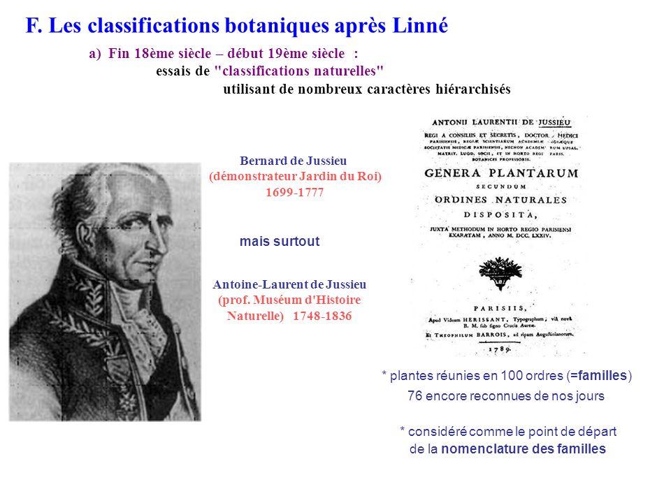 Bernard de Jussieu (démonstrateur Jardin du Roi) 1699-1777 Antoine-Laurent de Jussieu (prof. Muséum d'Histoire Naturelle) 1748-1836 F. Les classificat