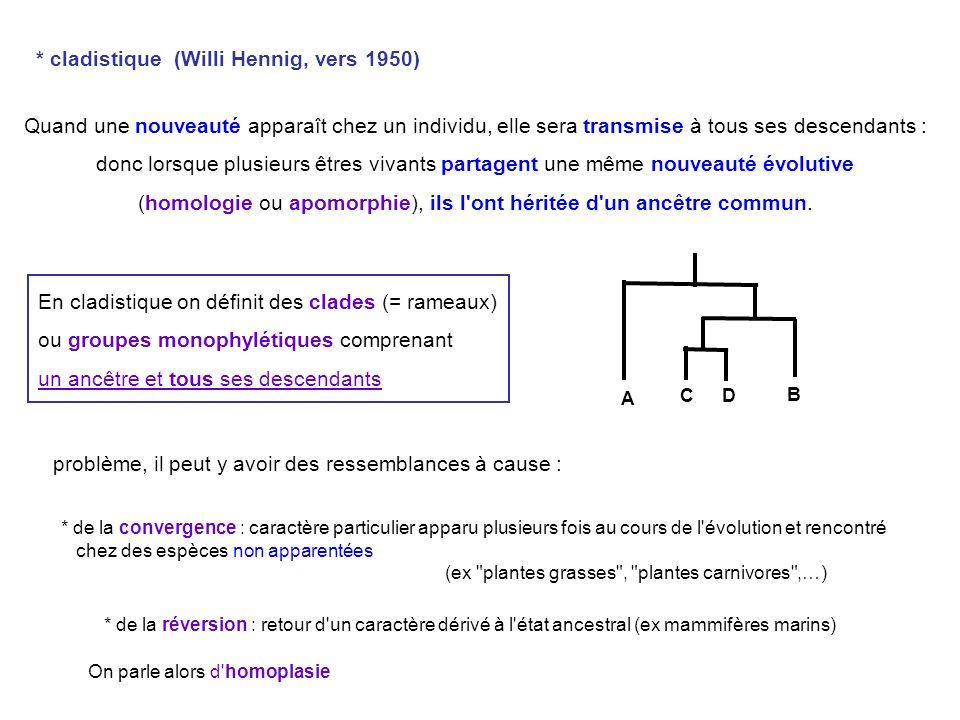 utilisation depuis quelques années de séquences nucléiques A partir de l étude d un certain nombre de caractères, plusieurs cladogrammes sont possibles : on considère comme valable, celui qui entraîne le moins de transformations évolutives (le plus économique ) : principe de parcimonie.