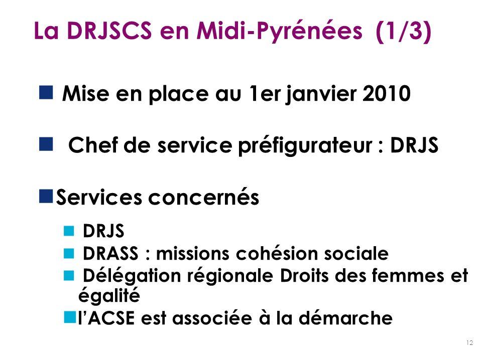 12 La DRJSCS en Midi-Pyrénées (1/3) Mise en place au 1er janvier 2010 Chef de service préfigurateur : DRJS Services concernés DRJS DRASS : missions co