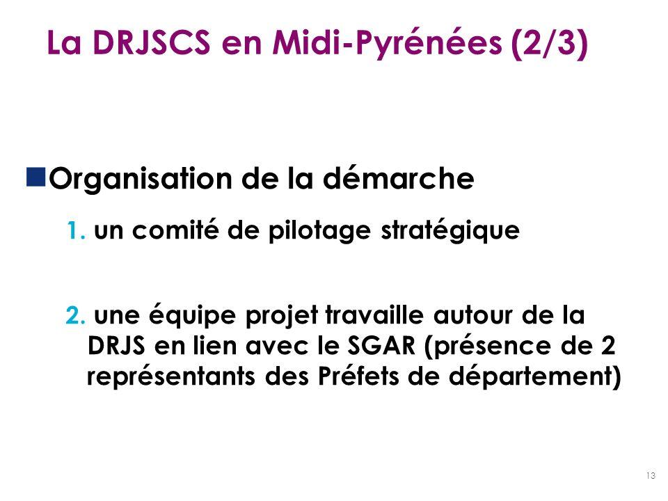 13 La DRJSCS en Midi-Pyrénées (2/3) Organisation de la démarche 1. un comité de pilotage stratégique 2. une équipe projet travaille autour de la DRJS
