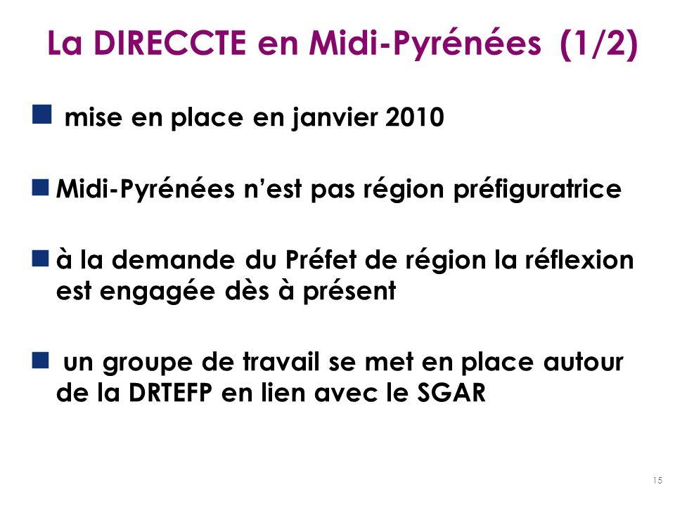 15 La DIRECCTE en Midi-Pyrénées (1/2) mise en place en janvier 2010 Midi-Pyrénées nest pas région préfiguratrice à la demande du Préfet de région la r