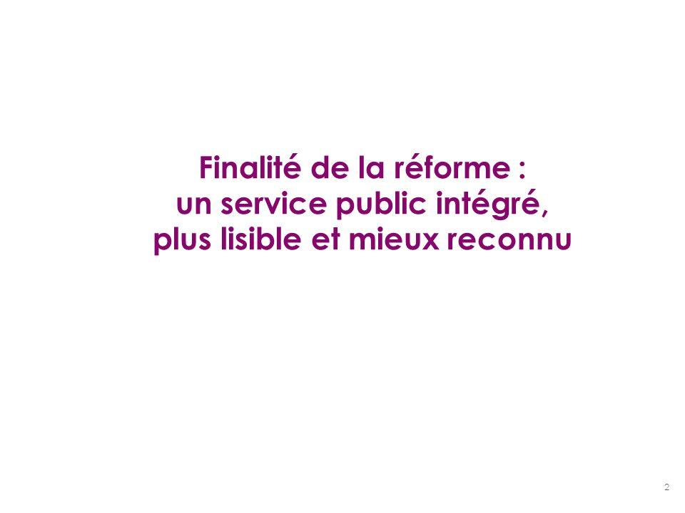 2 Finalité de la réforme : un service public intégré, plus lisible et mieux reconnu