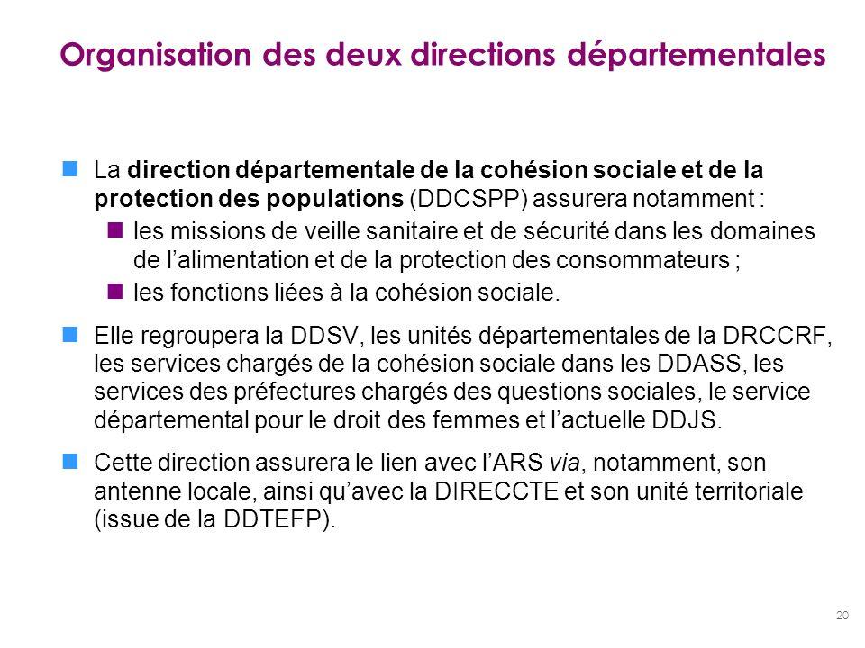 20 Organisation des deux directions départementales La direction départementale de la cohésion sociale et de la protection des populations (DDCSPP) as