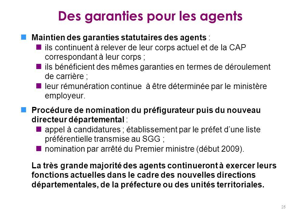 25 Des garanties pour les agents Maintien des garanties statutaires des agents : ils continuent à relever de leur corps actuel et de la CAP correspond