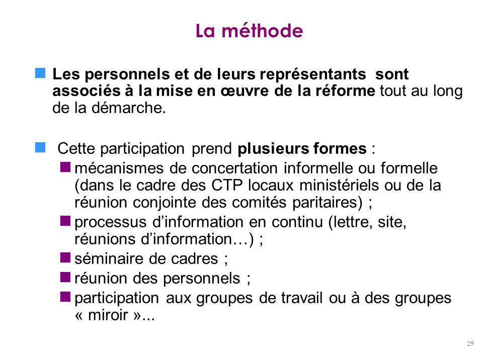29 La méthode Les personnels et de leurs représentants sont associés à la mise en œuvre de la réforme tout au long de la démarche. Cette participation
