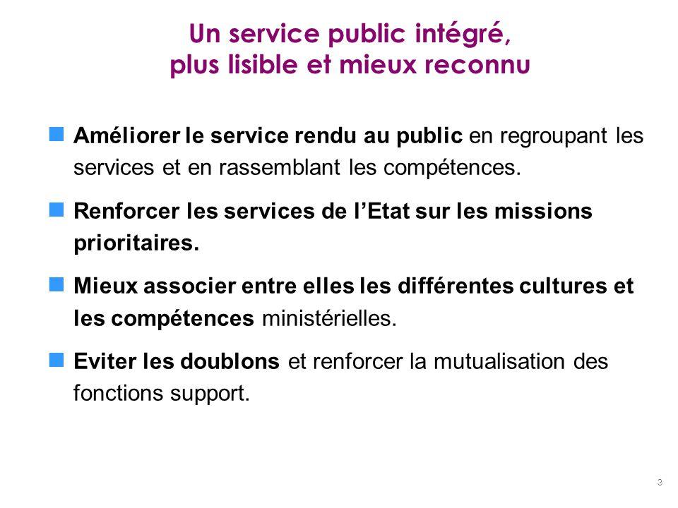3 Un service public intégré, plus lisible et mieux reconnu Améliorer le service rendu au public en regroupant les services et en rassemblant les compé