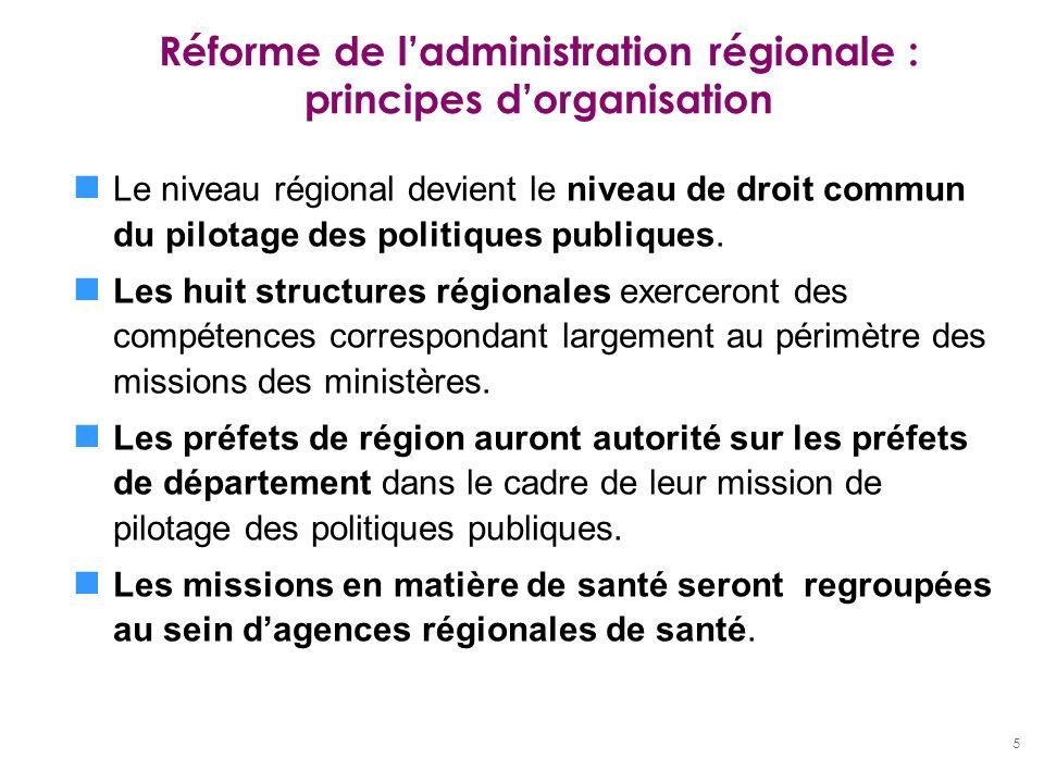 5 Réforme de ladministration régionale : principes dorganisation Le niveau régional devient le niveau de droit commun du pilotage des politiques publi