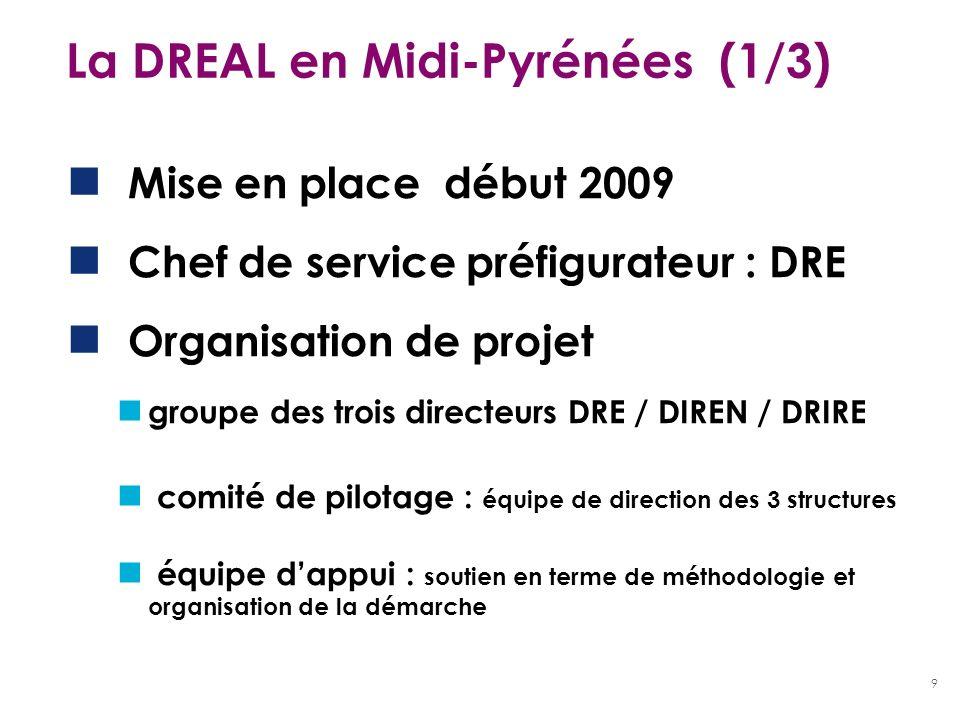 9 La DREAL en Midi-Pyrénées (1/3) Mise en place début 2009 Chef de service préfigurateur : DRE Organisation de projet groupe des trois directeurs DRE