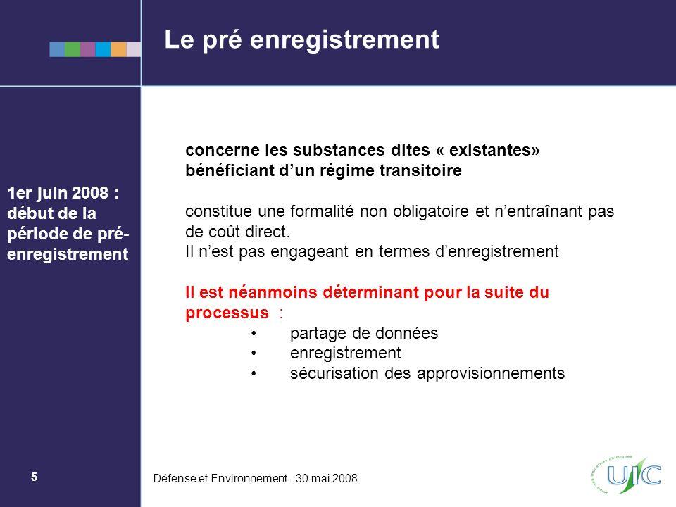 6 Défense et Environnement - 30 mai 2008 Les préoccupations de lUIC (1/2) La non disponibilité de toutes les fonctionnalités de REACH IT* au 1 er juin 2008 Des questions dinterprétation résolues tardivement sur les représentants exclusifs dentités non-européennes.