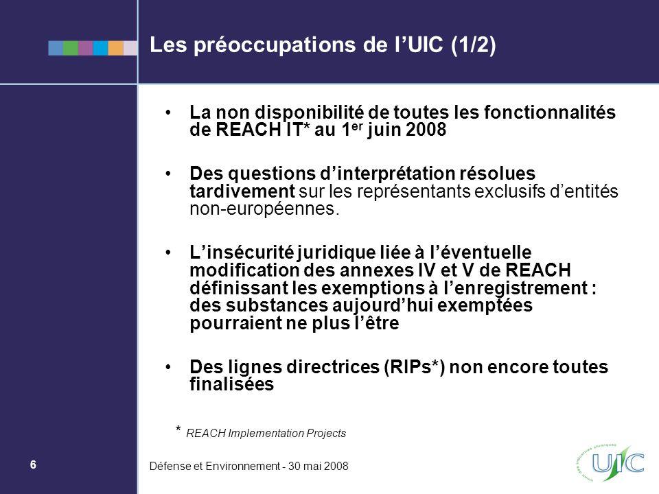 6 Défense et Environnement - 30 mai 2008 Les préoccupations de lUIC (1/2) La non disponibilité de toutes les fonctionnalités de REACH IT* au 1 er juin
