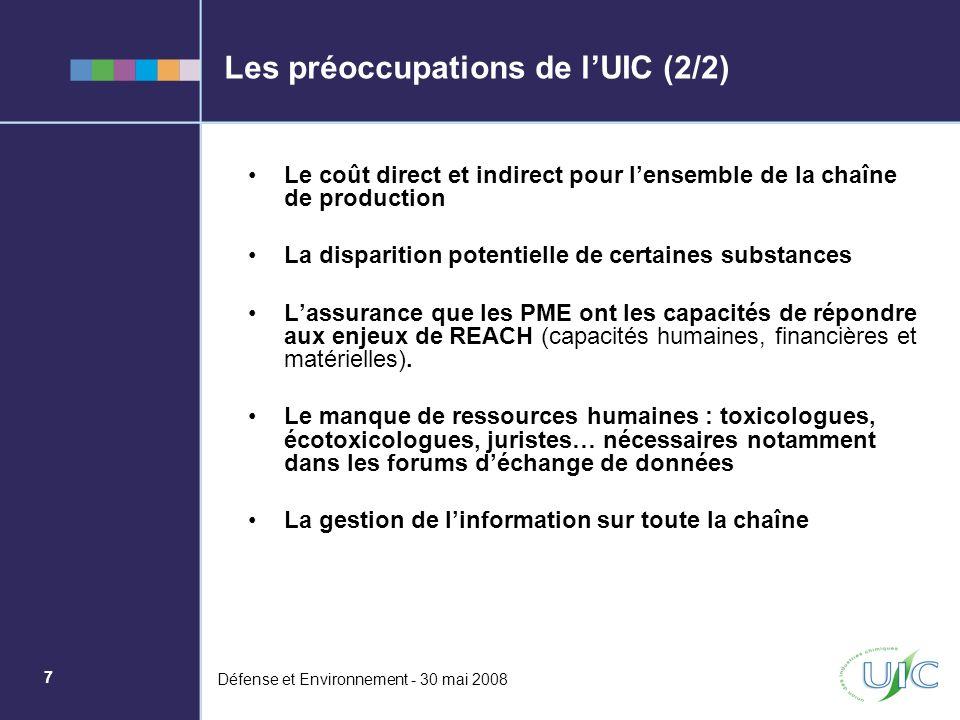 7 Défense et Environnement - 30 mai 2008 Les préoccupations de lUIC (2/2) Le coût direct et indirect pour lensemble de la chaîne de production La disp