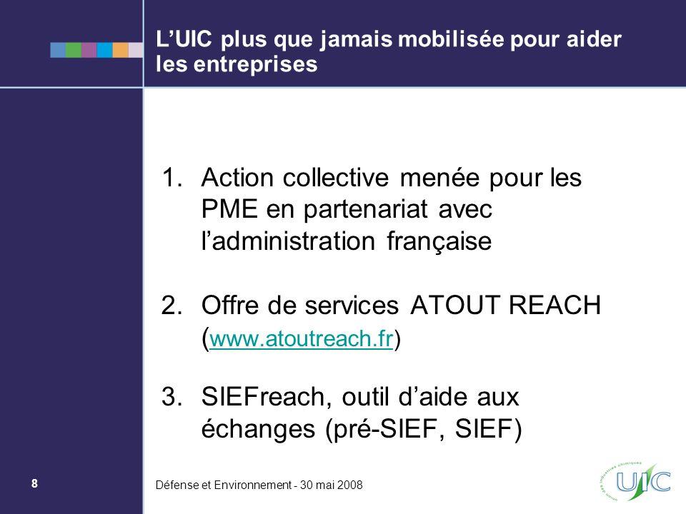 9 Défense et Environnement - 30 mai 2008 Réussir REACH : une priorité pour lUIC REACH induit un profond changement pour lindustrie chimique.