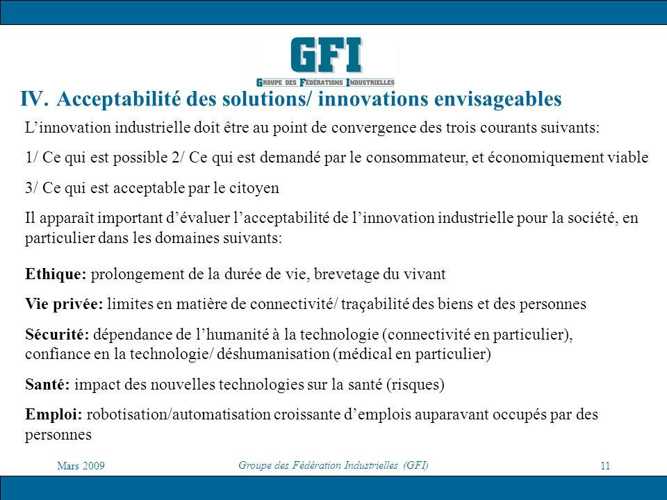 Mars 2009 Groupe des Fédération Industrielles (GFI) 11 IV. Acceptabilité des solutions/ innovations envisageables Ethique: prolongement de la durée de