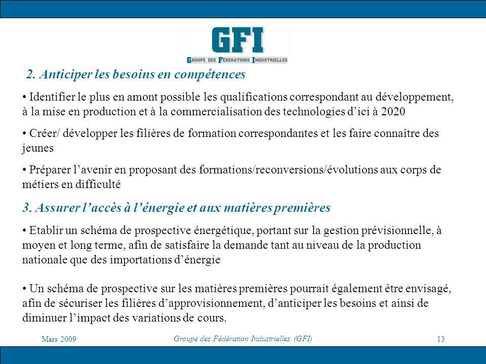 Mars 2009 Groupe des Fédération Industrielles (GFI) 13 2. Anticiper les besoins en compétences Identifier le plus en amont possible les qualifications