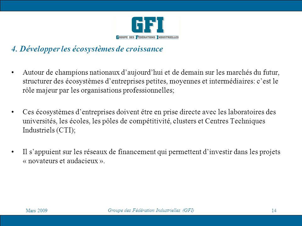 Mars 2009 Groupe des Fédération Industrielles (GFI) 14 4. Développer les écosystèmes de croissance Autour de champions nationaux daujourdhui et de dem
