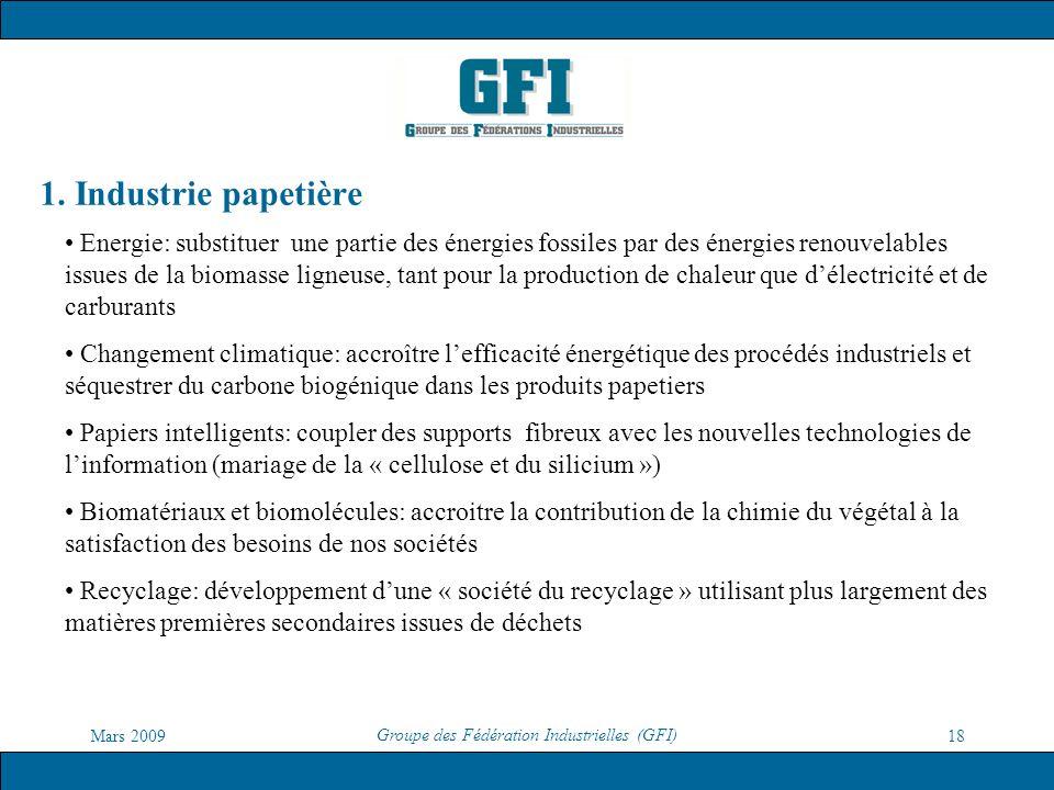 Mars 2009 Groupe des Fédération Industrielles (GFI) 18 1. Industrie papetière Energie: substituer une partie des énergies fossiles par des énergies re