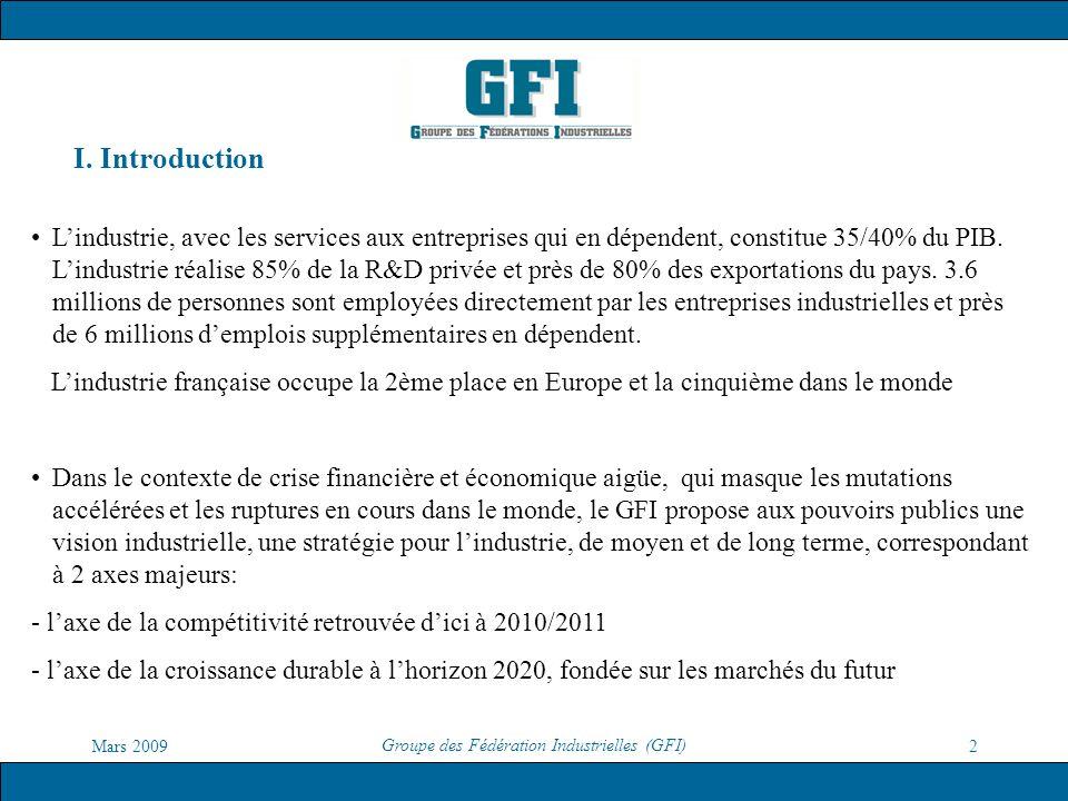 Mars 2009 Groupe des Fédération Industrielles (GFI) 2 I. Introduction Lindustrie, avec les services aux entreprises qui en dépendent, constitue 35/40%