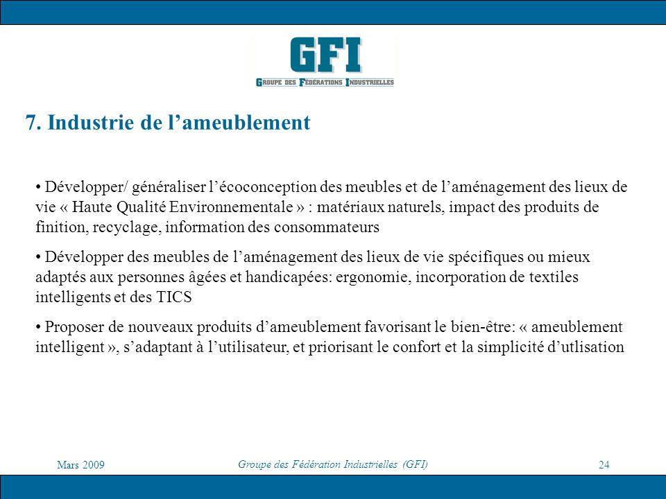 Mars 2009 Groupe des Fédération Industrielles (GFI) 24 7. Industrie de lameublement Développer/ généraliser lécoconception des meubles et de laménagem
