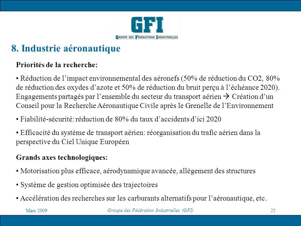 Mars 2009 Groupe des Fédération Industrielles (GFI) 25 8. Industrie aéronautique Priorités de la recherche: Réduction de limpact environnemental des a