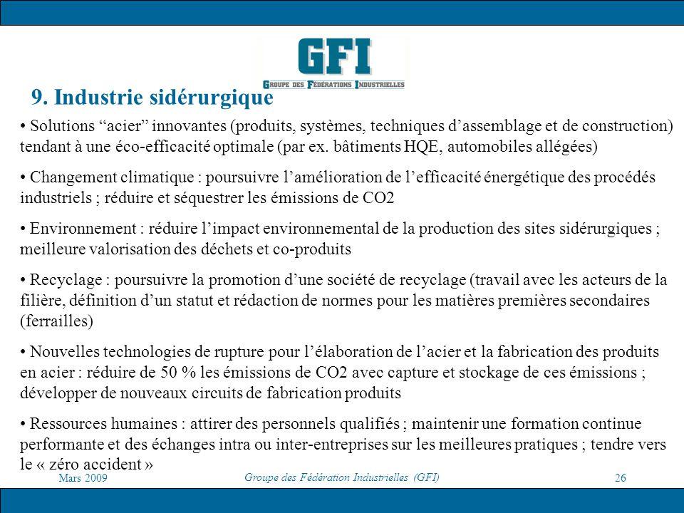 Mars 2009 Groupe des Fédération Industrielles (GFI) 26 9. Industrie sidérurgique Solutions acier innovantes (produits, systèmes, techniques dassemblag